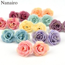 50pcs 3cm Mini Rose Cloth Artificial Flower For Wedding Party Home Room Decoration Marriage Shoes Hats Accessories Silk Flower(China)