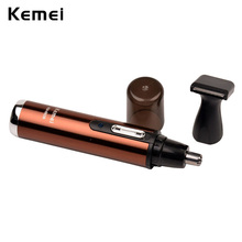 2-in-1 Kemei Electric Shaving Nose Hair Trimmer Safe Face Care Rechargeable Ear Hair Removal Cleaner Led Nose Hair Cutter S4950