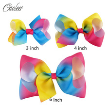 "9pcs/lot 6""4""3""Girls Grosgrain Rainbows Hair Bows With Hair Clips Kids Boutique Hair Ribbon Bows For Gifts Accessories"