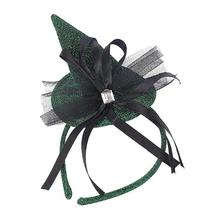Halloween Fascinator Headband Feather Party Mesh Billycock Hat for Women Performance Supplies