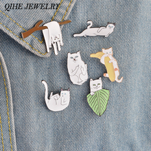 QIHE JEWELRY 6PCS/Set Cartoon Funny Cats  Metal Brooch Pins Badge Pinback Button Corsage Gift Men Women Unisex Jewelry Gift