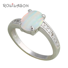 Wholesale & Retail Designer Green Fire Opal & Zircon Silver Stamped Ring USA Size #6.75 #7 #7.75 #8 Fashion Jewelry OR409(China)