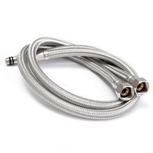 "Flexible Faucets Braided Hose Tap 2 X 24 Inch Length Line Pipe 3/8"" Stainless Steel Bathroom Product Water Supply Line"