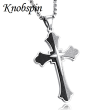 Mens Necklaces Pendants 316L Stainless Steel Medieval Two layers Cross Pendant Necklace Men Boys Vintage Jewelry colar(China)