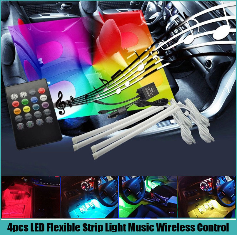 Universal 4pcs Car Stickers Sound music Activated Glow LED Interior Decorative Atmosphere Light Wireless Control RGB Strip<br><br>Aliexpress