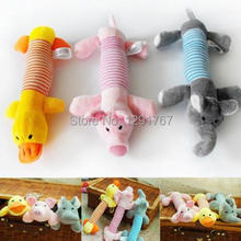 2pcs/lot Newest Dog Toys Pet Puppy Sound Plush Stuffed Chew Squeaker Squeaky Pig Elephant Duck Pet Toys for Dogs Cats