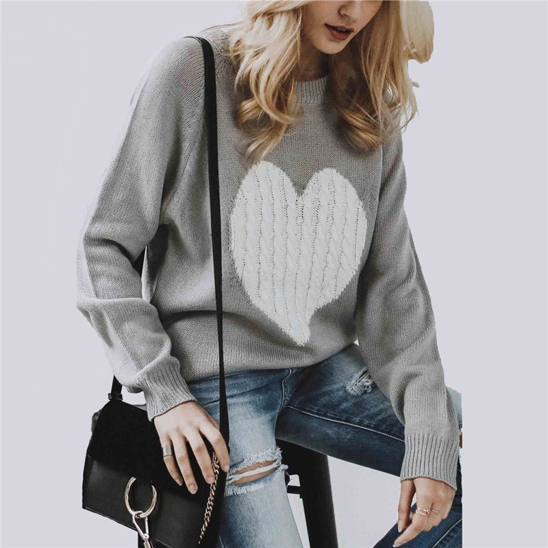 Women Pullovers Sweater Knitted Elasticity Women's Autumn Winter Casual Jumper O-neck Heart Warm Female Sweaters Loose Femininas