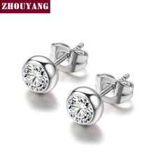 ZYE270 Grace Clear Crystal Silver Color Stud Earrings Jewelry Made with Genuine Austrian Crystal Wholesale(China)