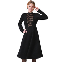 Buy Fashion Winter Women Sexy Dress Lace Patchwork Black Hollow Slim Elegant Female Party Dresses Vintage Autumn Midi Dress 4XL for $17.99 in AliExpress store