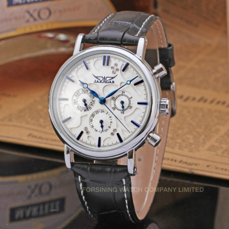 Jargar Automatic Men Watch Black Genuine Leather Band with Gift Box<br>