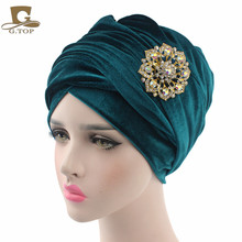 NEW luxury velvet Turban hijab Head Wrap Extra Long velour tube indian Headwrap Scarf Tie with the jewelry brooch(China)