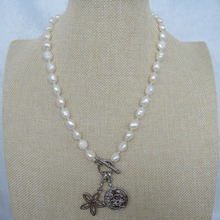 100% NATURE FRESH-WATER PEARL NECKLACE WITH NICE CHARMS