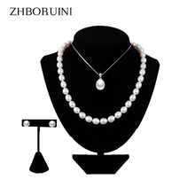 ZHBORUINI 2017 Pearl Jewelry Sets Water Drop Natural Freshwater Pearls necklace earrings Bracelet 925 Sterling Silver For Women(China)