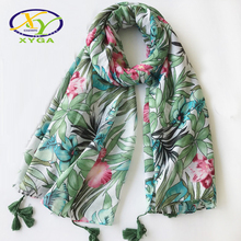 1PC 2017 Summer New Ethnic Style Fashion Flower Polyester Cotton Women Long Scarf Soft Woman New Flower Viscose Pashminas Shawl(China)