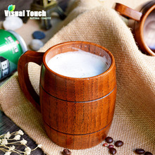 1pc Classical Japanese Style Natural Wood Work Wooden Beer Mugs Cup Drinking Mup 350ml-400ml For Gatherings Party Carnival