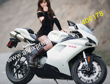 Hot Sales,Customized Fairings For DUCATI 848 1098 1198 White 2007 2008 2009 2010 2011 Motorcycle fairing (Injection molding)