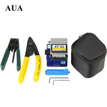 Free shipping Fiber Optic Tool 4 in 1 FTTH Splice fiber optic tool kits Fibre stripping +fiber cleaver(China)