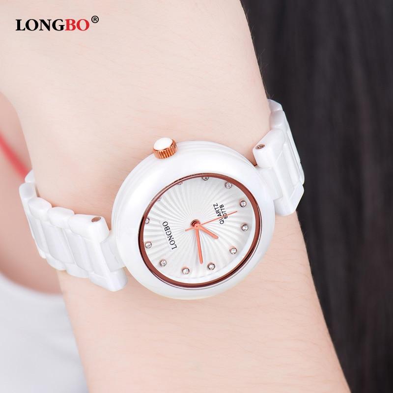 Relojes Mujer 2017 LONGBO Quartz Watch Women Waterproof White Ceramic Watches Luxury Gold Ladies Watch relogio feminino 6077<br><br>Aliexpress