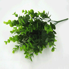 180pc leaf  Artificial Green Plants Grass 6-forks Money grass Plastic Simulation Flowers for Household Store best Rustic Decor