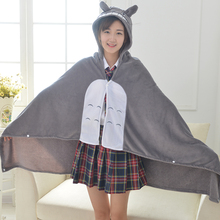 Boy Girl Gift Anime Totoro Cosplay Costumes Home Office Air Condition Coral Fleece Blanket Shawl Cloak Cat Cartoon Plush Cape