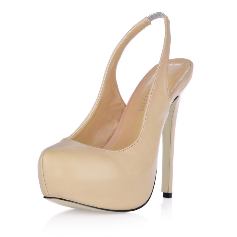 2017 New Beige Sexy Nice Party Evening Shoes Women Round Toe Stiletto High Heels Back Strap Ladies Pumps Zapatos Mujer 3463B-C6<br><br>Aliexpress