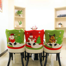 3 patterns Christmas Santa Claus Chair Back Cover Snowman Elk Ski Dinner Table Party Decor chair back case for table decoration