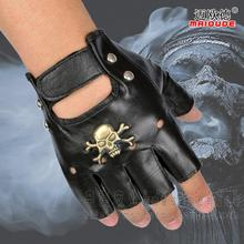 Men's fashion skull rivet gloves semi-finger hip-hop genuine leather punk gloves sports tactical sheepskin leather glove