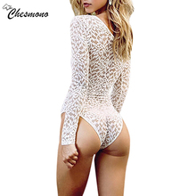 Sexy lace hollow out deep v strapbody suit Perspective skinny fringe white jumpsuit romper women Summer party playsuits coverall(China)