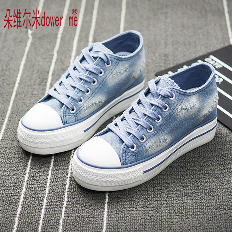 2017 spring autumn Europe US new fashion Jeans canvas shoes student casual patchwork female thick bottom comfort flat shoes blue<br><br>Aliexpress