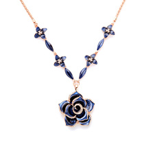 Wholesale Blue Rose Pendant Necklace Perfume Women Famous Brand Jewelry Valentine Gift(China)