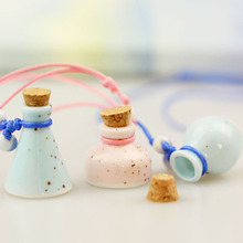 Blue/Pink Mini Coss Perfume Bottle Pendant Necklace Lady Favor Refillable Ceramic Wish Bottle can keep Baby Hair 10pcs/lot P007