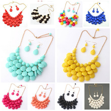 Gold-color Bridal Multicolour Crystal Jewelry Set For Women Collar Statement Bib Necklace Earring Set Collier Femme