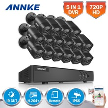 ANNKE 16CH HD TVI 1080P Lite CCTV Security System DVR with (16) 720P Outdoor Fixed IP66 bullet Cameras Video Surveillance kit