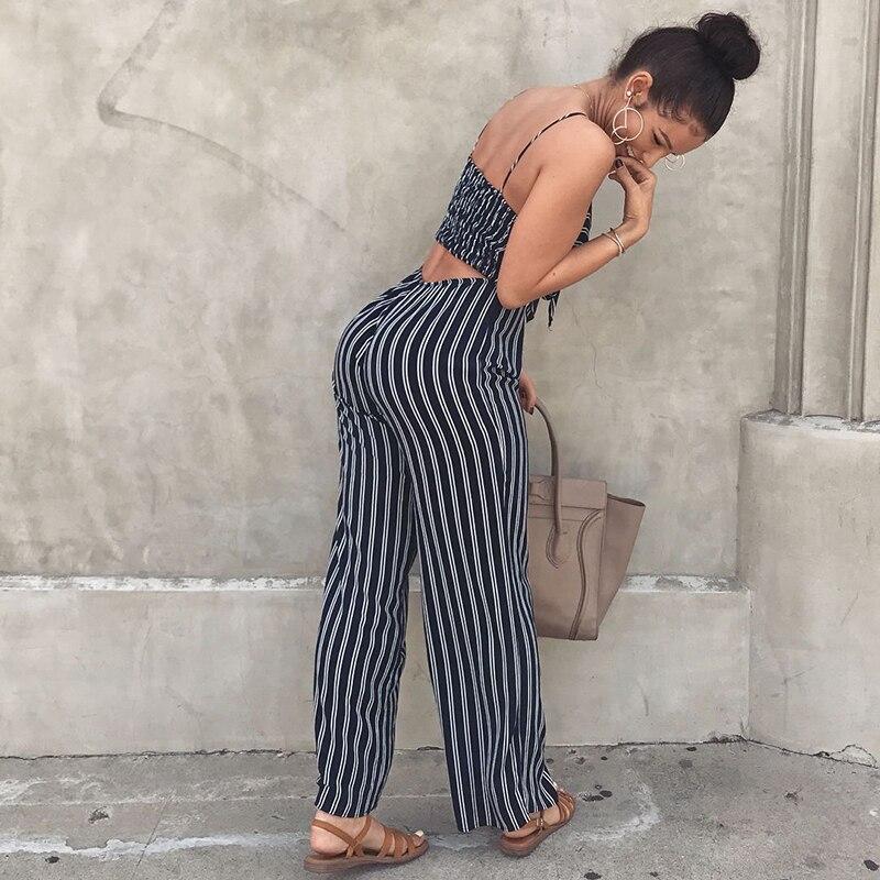 Women Long Sleeve Single-breasted Shirt Long Wide Legs Pants Stripe Jumpsuit 2pc