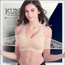Summer Women Underwear Sexy Full Lace Bra Straps Backing V Neck Half Wrapped Chest Anti Dic Female Sleep underwear(China)