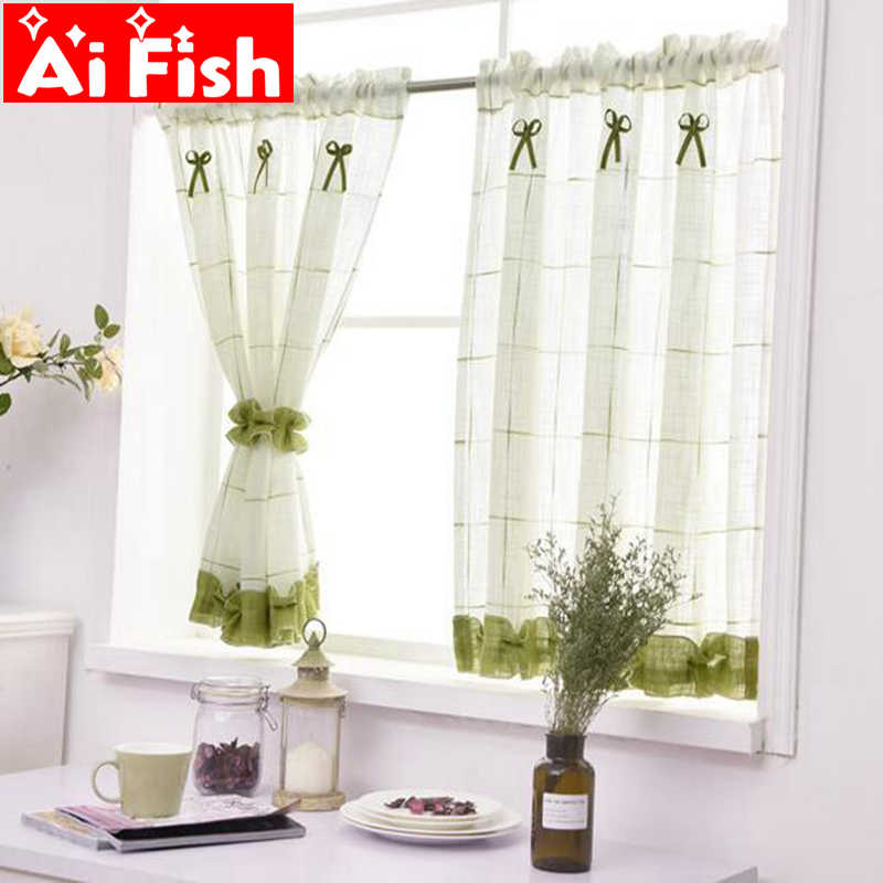 Romantic Sweet Lace Home Garden Screens Half Coffee Curtain Kitchen Dust-proof Curtains Balcony Toilet Pritition Curtain-DL013#4