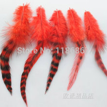 Wholesale price!100pcs red BARRED ROOSTER GRIZZLY FEATHERS hair extension feather chicken grizzly plumages 5-6 inch KX07