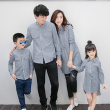 Family Matching Outfits Spring 2017 striped shirt leisure wholesale a family of four family family parent-child outfit(China)