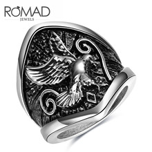 High-grade Jewelry Wholesale Stainless Steel Ring and America Sell Well Punk Wind Mirs Wings Baking Paint Steel Ring NotFade(China)