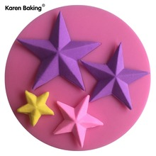 Different Size Five Stars Shape Christmas Fondant Silicone Cake Mold For Cupcake Cake Decorating Tools Candy -C624