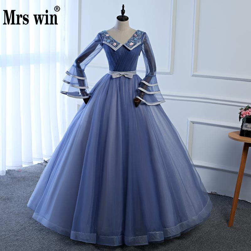 Mrs Win Quinceanera Dresses 2018 Long Sleeves Ball Gowns Candy Color Lace Up Sweet 16 Dress Vestidos De 15 Anos