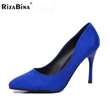 RizaBina Women Thin High Heel Shoes Pointed Toe Suede Leather Pumps Brand Heeled Footwear Ladies Heels Shoes Size 35-39 WD0252