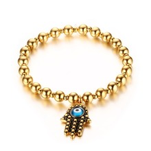 6MM gold stainless steel Hamsa palms Pandora bracelet wholesale made China Bohemian style women bracelet BANLGE(China)