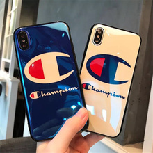 Fashion Champion Brand Blu Ray IMD Phone Case for IPhone X 8 Plus Smooth Pattern for Iphone 6 6S 7 Plus Case Soft TPU Back Cover(China)