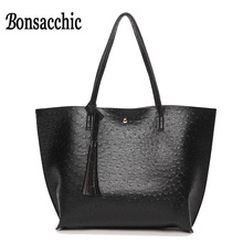 Bonsacchic Big Woman Shoulder Bags Handbags Luxury Handbags Women Bags Designer Shopping Bag Purse Leather Handbag Mujer Bolsas