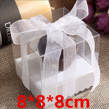 25pcs 8*8*8cm Clear Food Safe Plastic boxes with Buttom / cupcake  packing box /custom logo / 100% guarantee / gifts & crafts