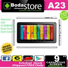 Free Shipping A33 MID - Cheap Tablet PC A23 Q88 - 9 inch Capacitive Screen + Android 4.2 + Camera + Wifi + 1.5GHz + Bluetooth
