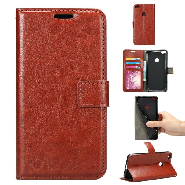 Phone Coques Wallet Crazy Horse New Luxury Retro Funda Cases For Huawei Ascend P8 Lite 2017 Version PU Leather Flip Covers Bag(China (Mainland))