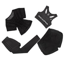 Gym Clothes Sport Wear Training Suit Running Outdoor Jogging 4 piece suit Workout Yoga Gym Suit Set