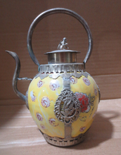 christmas decorations for home+ Metal Crafts Antique antiques Tibet silver yellow ceramic pot,painting flowers teapot(China)